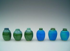 Row of small vases